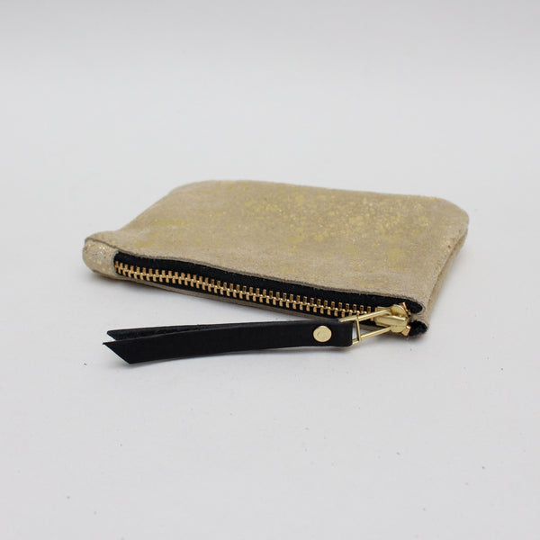 Foxcombe Coin Purse - Gold Metallic Fleck Suede