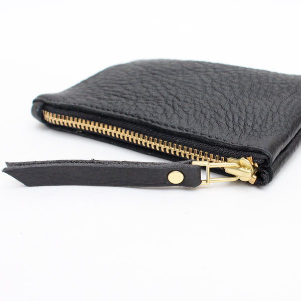 Foxcombe Coin Purse - Black Leather