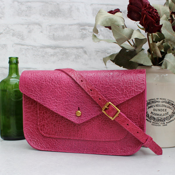 SALE - Fawley Satchel, Pink Crackle