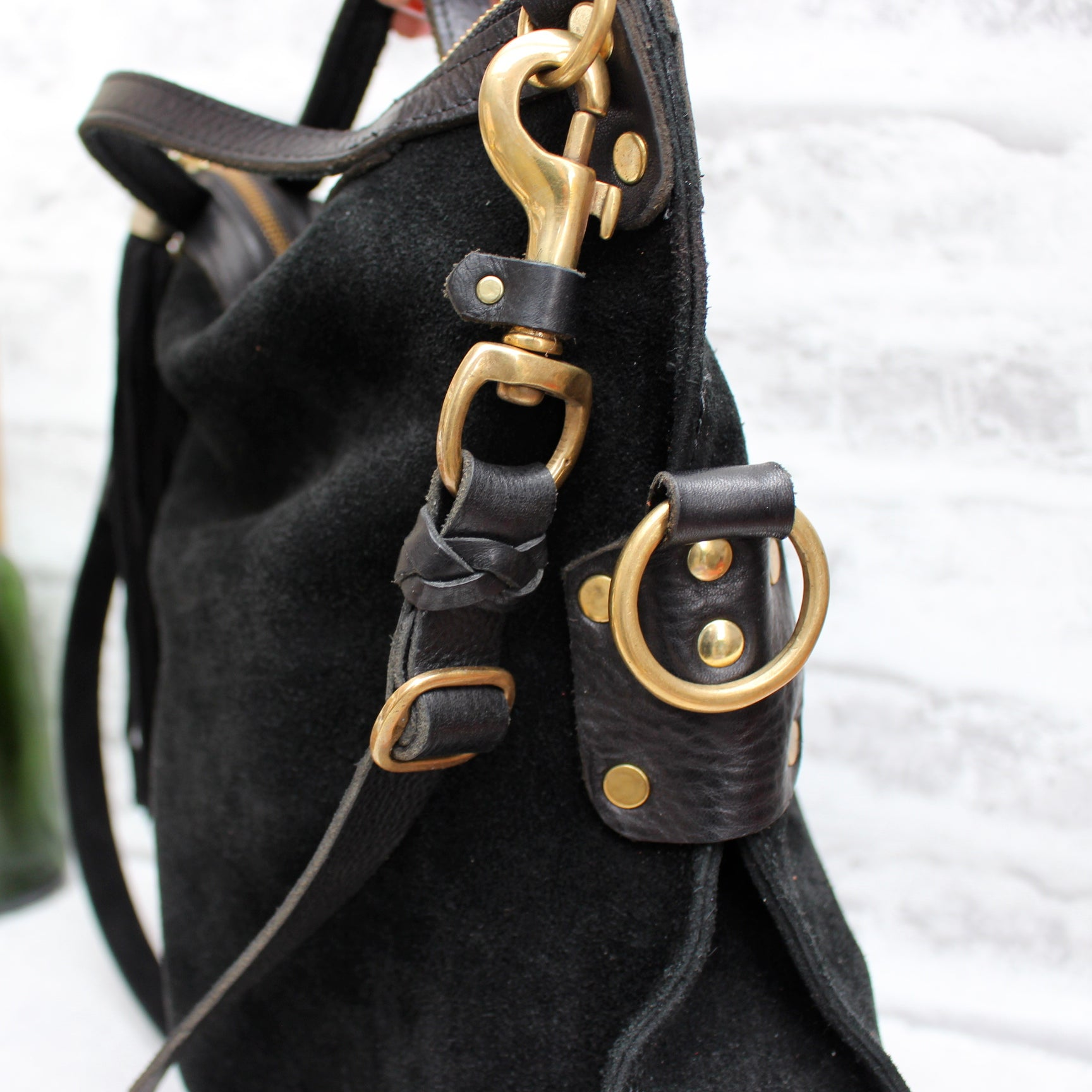 Delilah Crossbody Bag, Black Suede/Leather