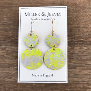 Double Disc Hand Painted Earrings- neon yellow/silver