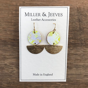 Disc and Half Moon Hand Painted Earrings with Hook Fastening- gold/neon yellow