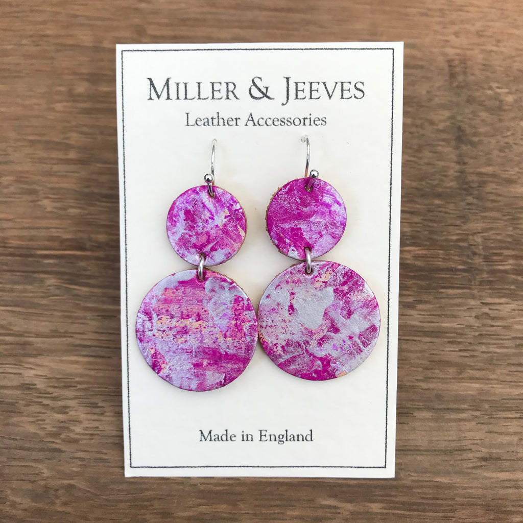 Double Disc Hand Painted Earrings- Fuchsia/silver