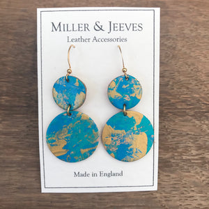 Double Disc Hand Painted Earrings - turquoise/gold
