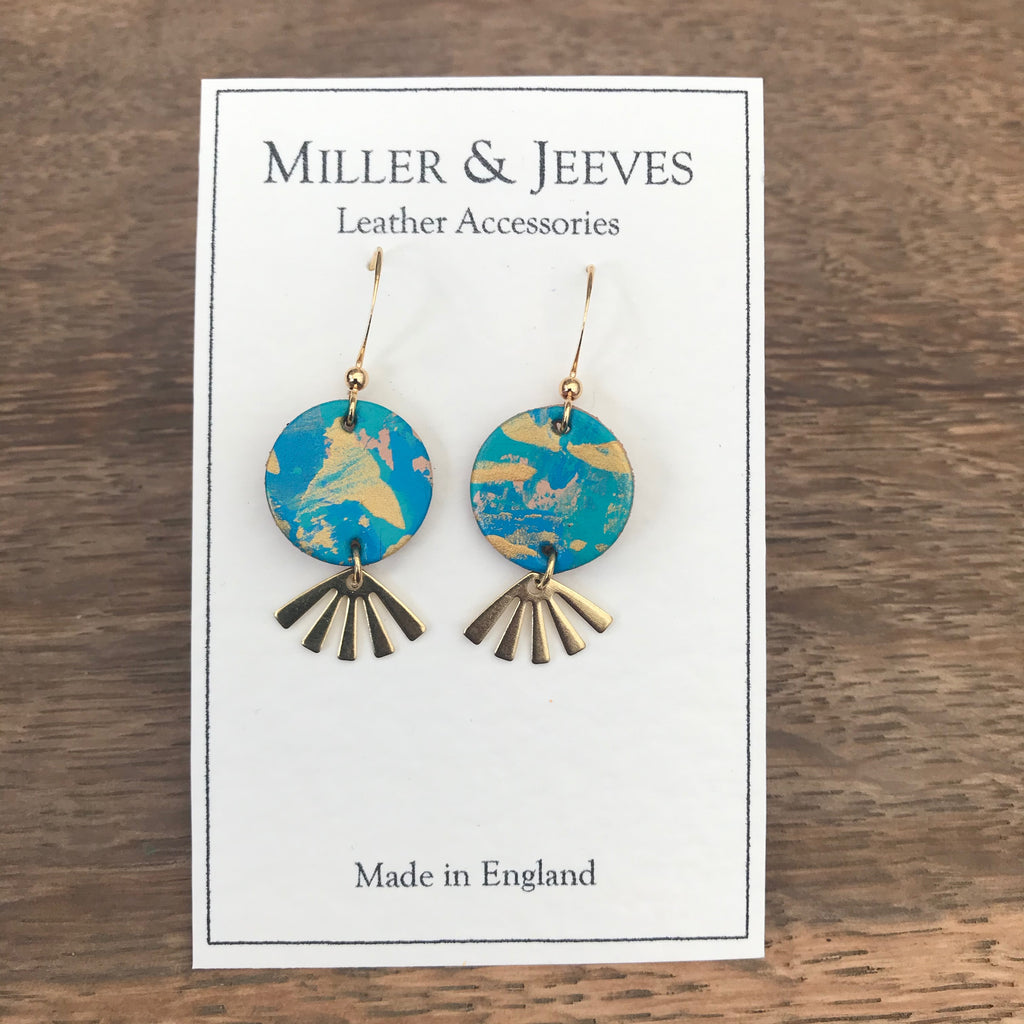 Hand Painted Leather Disc and Sun Beam Earrings with Hook Fastening- gold/blue