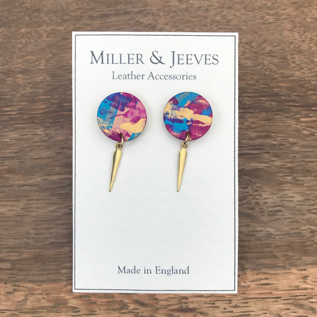 Disc and Dagger Hand Painted Earrings with Stud Fastening- gold/blue/pink/purple