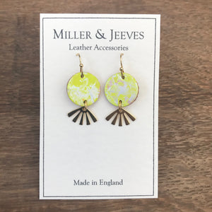 Hand Painted Leather Disc and Sun Beam Earrings with Hook Fastening- gold/neon yellow