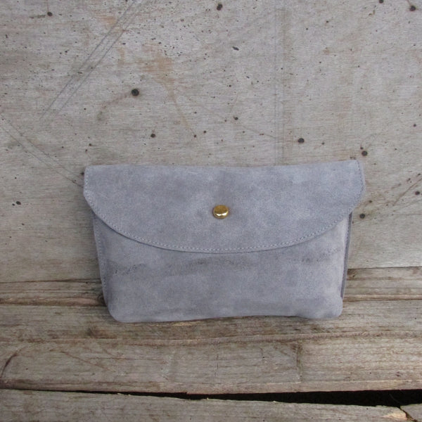 Hebden Pouch - Light Grey Suede