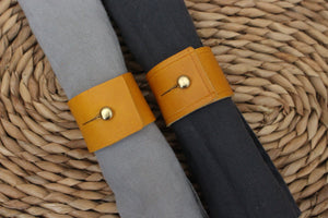 Napkin Rings - Mustard Yellow leather