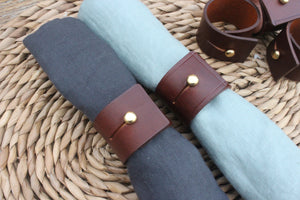 Napkin Rings -Mid Brown leather