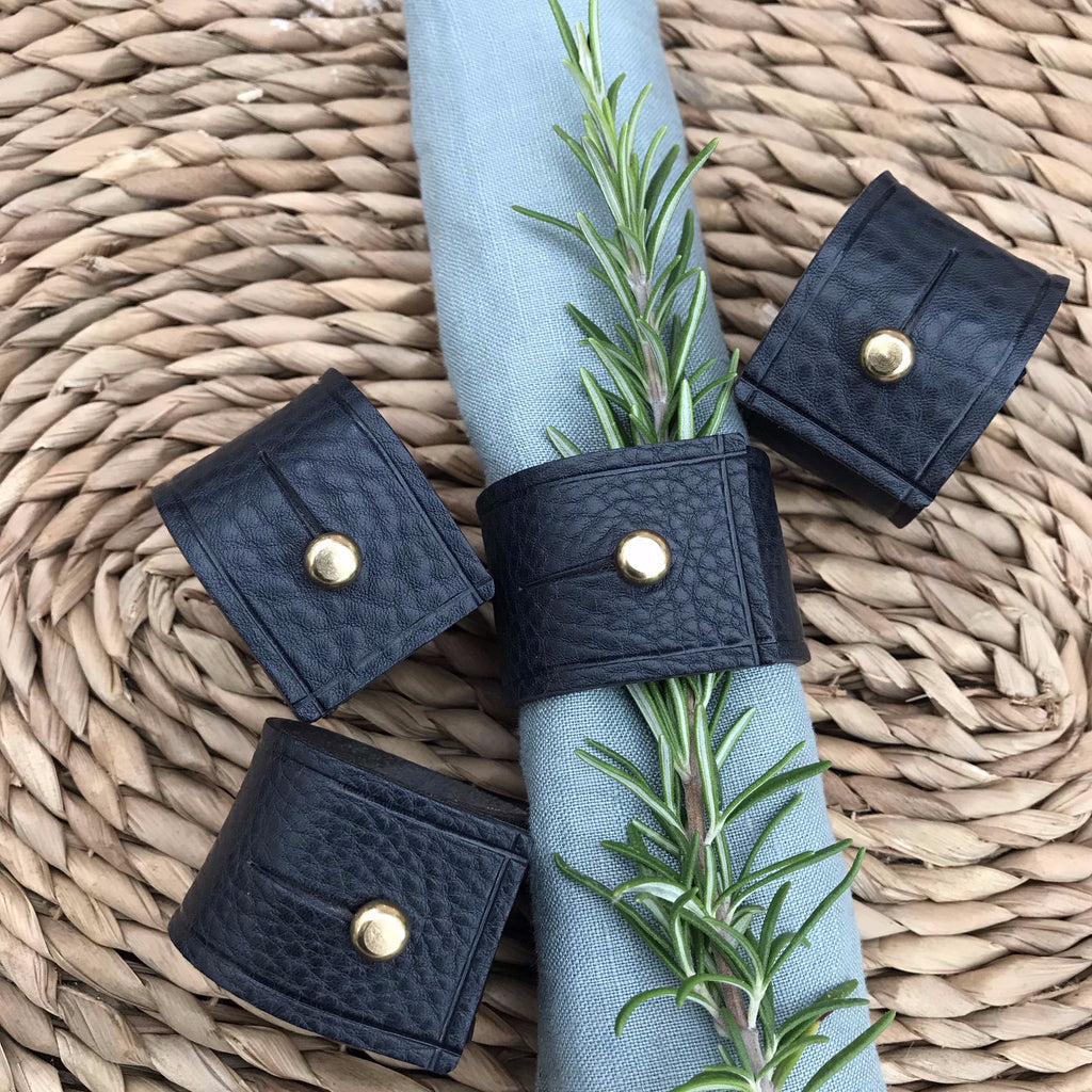Napkin Rings - Navy Tumble leather