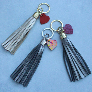 Swinbrook Tassel Keyring with Painted Heart tag