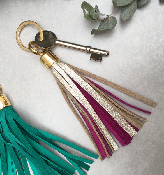 Two-tone Swinbrook Tassel Keyring - Platinum Leather & Lavender Suede