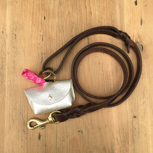 Hebden Dog Poo Bag Pouch - Light Tan Leather