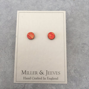 Leather Stud Earrings - multicolour  (7/32a6)