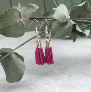 Tassel Earrings - fuchsia suede