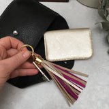 miller and jeeves two-tone keyring platinum/royal pink