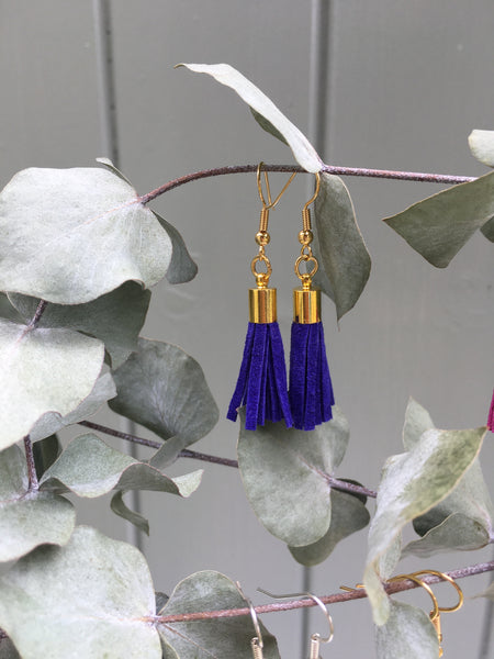 Tassel Earrings - blue suede