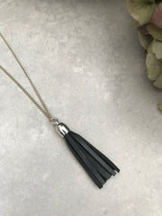 Tassel Necklace - gunmetal leather