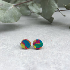 Leather stud earrings - multi paint, size 3