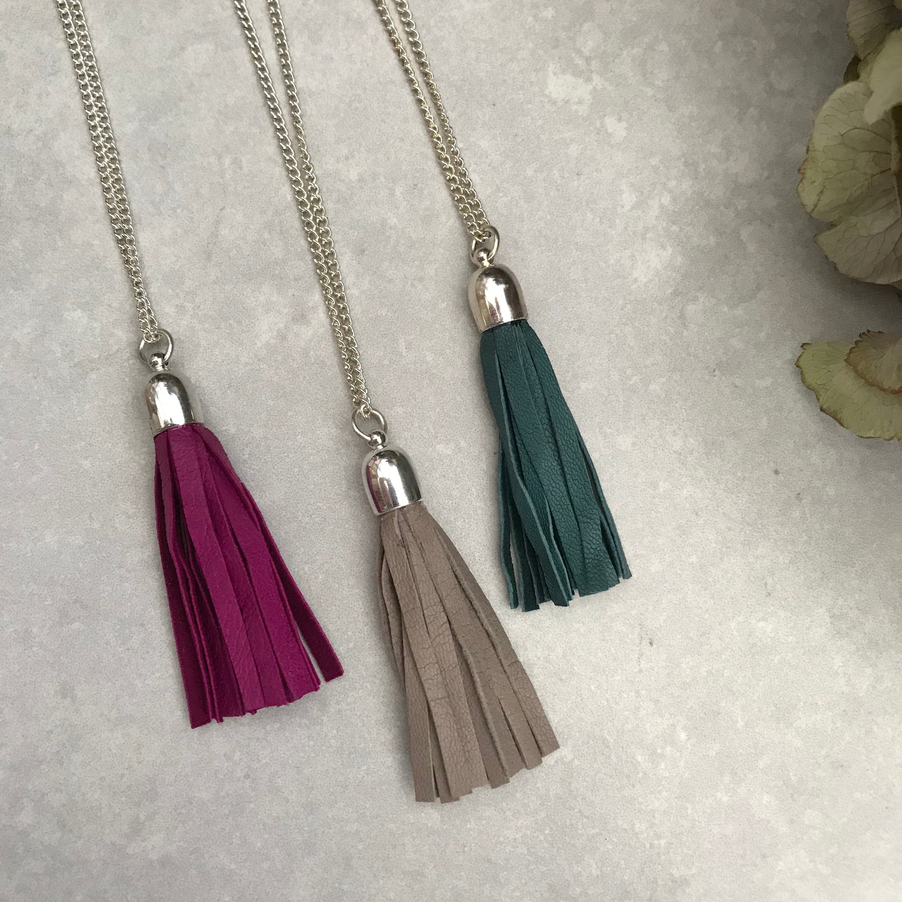 Tassel Necklace -  fuchsia leather
