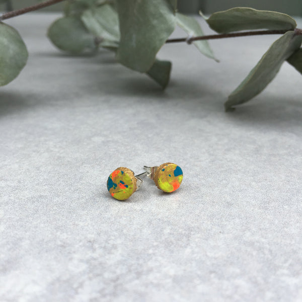 Leather stud earrings - neon multi flick, size 2