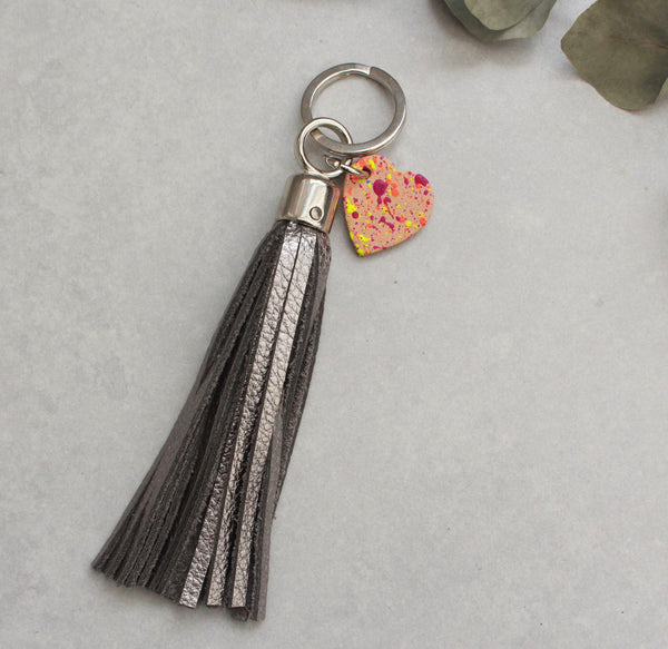 Swinbrook Tassel Keyring - Pewter Leather
