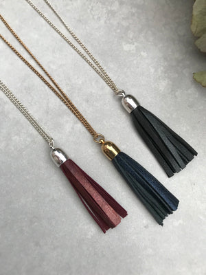 Tassel Necklace - metallic blue leather