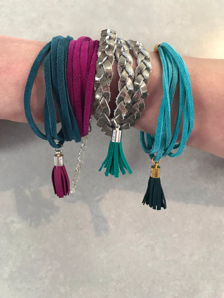 Rio Triple Wrap Tassel Bracelet - pewter/green