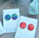 Leather Stud Earrings - fire red-gold (5/8a3)