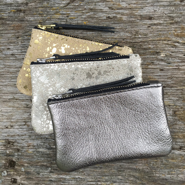 Foxcombe Coin Purse - Gunmetal Leather