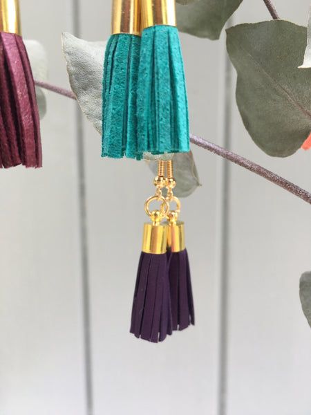 Tassel Earrings - purple leather