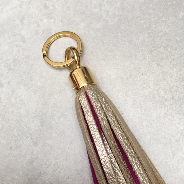Two-tone Swinbrook Tassel Keyring - Platinum Leather & Royal Pink Suede