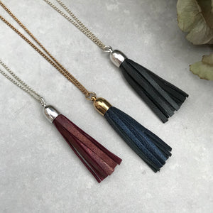 Tassel Necklace - Rust leather