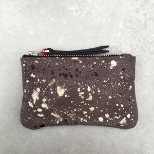 Foxcombe Coin Purse - Grey Metallic Fleck Suede