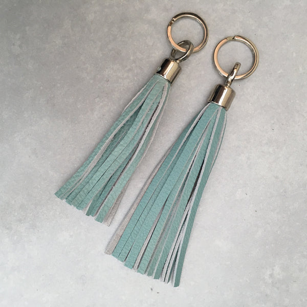 Swinbrook Tassel Keyring - Aqua Leather
