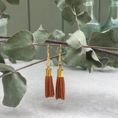 Tassel Earrings - light tan leather