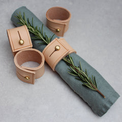 Set of 4 Napkin Rings - Natural leather