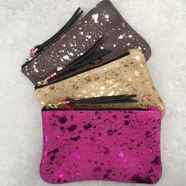 Foxcombe Coin Purse - Pink Metallic Fleck Suede