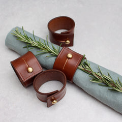 Set of 4 Napkin Rings - Conker bridle leather