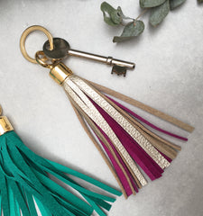 tassel keyring, platinum and royal pink, miller and jeeves
