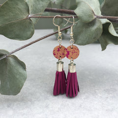 Leather Disc & Tassel Earrings - deep pink