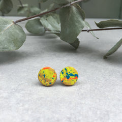 Leather stud earrings - neon multi flick, size 4