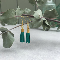 Tassel Earrings - emerald suede