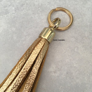 Swinbrook Tassel Keyring - Gold Metallic Leather