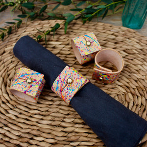 Napkin Rings - Hand Painted Natural Leather