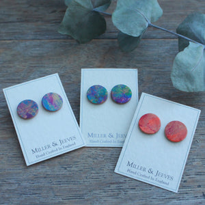 Leather Stud Earrings - multicolour (5/8a1)