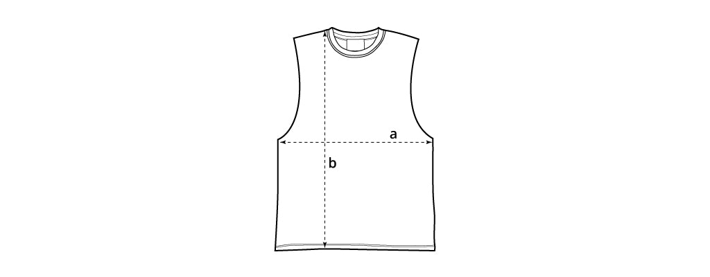 Sizing chart image for cut-off tee.