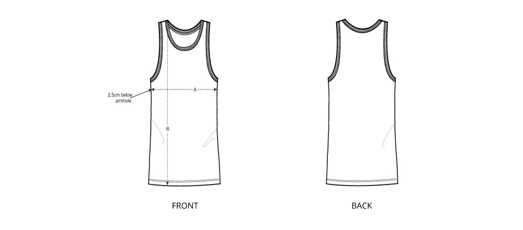 Sizing chart diagram for the Mens Singlet 2021.