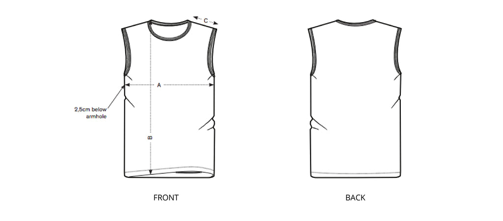 Sizing chart diagram for the Mens Cut-Off Tee.